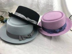 Mode femmes et l'homme feutre de laine Porkpie Fedora chapeau avec bande Grossgrain