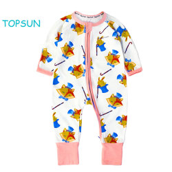 Hotsale 2 Methoden-Reißverschluss-Allover Druck-lange Hülsen-Baby-Kleidung