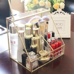 3 en 1golden Métal et verre cosmétique organisateur de la boîte de rangement