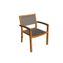 Résistant aux UV tissu à mailles à ossature de bois de teck chaise de salle à manger