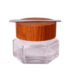 50g pot de verre hexagonal pour masque Facial Collagen
