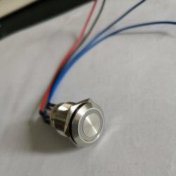 Bague de 19mm LED momentané à tête plate 1no1nc bouton poussoir en acier inoxydable interrupteur électrique