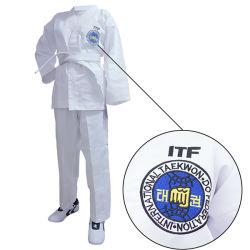 De Vechtsporten die van het borduurwerk de Uniformen van Taekwondo Dobok Itf van de Slijtage opleiden