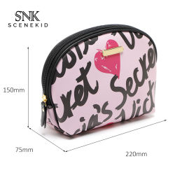 Diseño personalizado de viaje impermeable Rosa cuero pu bolsa de maquillaje profesional, bolsa de cosméticos Bolsa con Logo