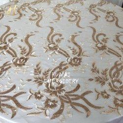 Hualai Qualität 132 runde Champagnesequin-Tisch-Kleidung für Hochzeit