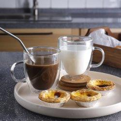 Shot, double paroi de café en verre isolé des tasses en verre avec poignée, Verres Tasses de café parfaite de tous les jours pour le café