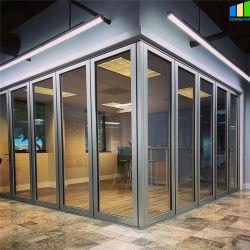 사무실 워크스테이션 알루미늄 프로필 접이식 방음벽 취약한 슬라이딩 이동 가능한 투명 강화 유리 파티션 가격