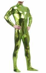 Metálicos unissexo Bodysuit Lycra Zentai Sem Capô (verde)