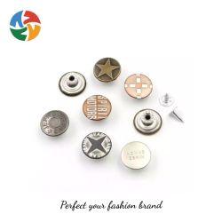 O botão do logótipo de metal e prata folheada a ouro Irregulares Shank Botões Jeans e rebites para jeans Denim