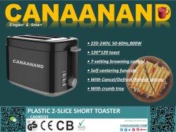 Canaanand - Tostadora 2 rodajas de 2 ranuras, Tostador de plástico, rejilla calientabollos, 6 posiciones de tostado, Desempañador y recalentar/Cancelar bandeja recogemigas desmontable, 800W