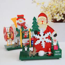 Muziekdoos Handcrank van de Decoratie van de Desktop van de kerstboom de Roterende Houten