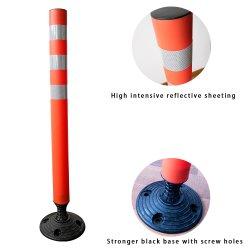 Waarschuwing voor plastic verkeer flexibele parkeerborden voor de delineator flexibele gids PE-paal met PVC-zwart