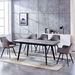 Muebles modernos plegables de lujo 6 Sillas de mármol cerámico Mesa de comedor