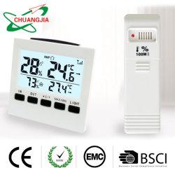 Tester dell'interno dell'igrometro dell'affissione a cristalli liquidi/esterno senza fili di umidità di temperatura con l'allarme dell'allarme e della lampadina