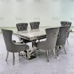 유럽 홈 가구 스테인레스 스틸 식탁 및 의자 세트