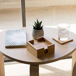 竹製コースター、ホルダー付き 100% ナチュラルウッドコースター