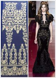 Geometria de venda quente Motif Lace Custom Bela Bela Senhora Bordados Vestido de festa Net Black Lace Fabric