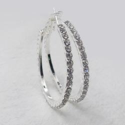 Мода украшения для женщин большая круглая полного круга роскошные свадьбы невесту Crystal Silver Huggie Хооп серьги