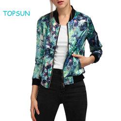 Stand Collar Zip der Frauen herauf Floral Prints Bomber Jacket Girl Students Indoor Wear Garment
