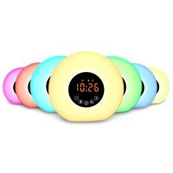 디지털 가구 2 바탕 화면 LED는 가벼운 램프가 라디오 책상 테이블 해돋이 일몰에 의하여 일어나는 7개의 색깔 변화 자명종을 디스플레이했다