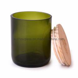 300mL 木キャップ付きのグリーンカッティンググラスビールワインカップ