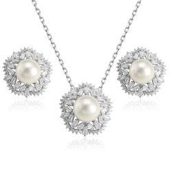 2019新しいデザイン自然な淡水の真珠の宝石類のネックレスのイヤリングセット
