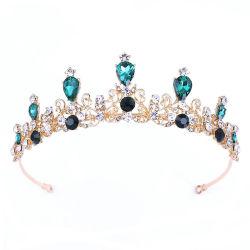 Le luxe Rhinestone Bijoux cheveux émeraude des ornements mariée bijoux de la Couronne
