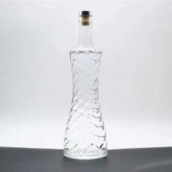 750ml de vin Bouteille de verre de Whisky Highly-White bouteille en verre avec bouchon en caoutchouc
