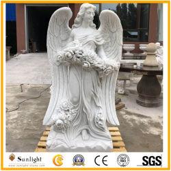 Tallado en piedra natural de mármol blanco puro Angel escultura para la decoración de jardín