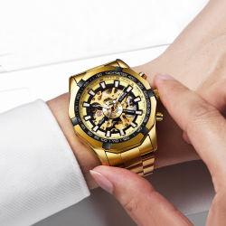 Etiqueta Privada ODM OEM Relógios de pulso Luxury homens relógios mecânicos automática do relógio de ouro da correia de aço inoxidável Relógio desportivo de negócios oco macho através do fundo