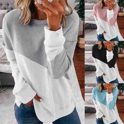 Jersey de manga larga para la Mujer Patchwork moda suéter cuello redondo Tops tallas Plus