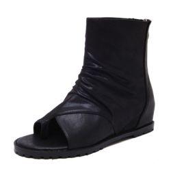 여자의 가죽끈 Sandals 가죽 열려있는 발가락 가죽끈에 의하여 숨겨지는 Wedge 단화 샌들 우연한 샌들 Esg13675가 샌들 발목에 의하여 구두를 신긴다