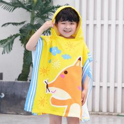 Promozione Moda 100% poliestere microfibra pulizia Poncho e con cappuccio Stampa Terry Towel per bambini e asciugamani da spiaggia Coperte per bambini