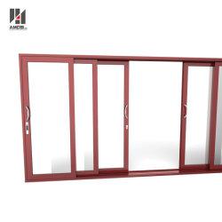 カスタマイズされる半商業用システムテラスのドアの三重の柵の蚊帳が付いているアルミニウムスライドガラスドアを滑らせる
