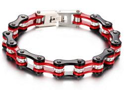 Couleur Noir et rouge 316 L Chaîne de vélo de bracelet en acier inoxydable avec Crystal Stone