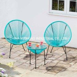 Corlorful Entwurfs-im Freiengarten-Möbel-Halbrund-Patio PET Weidenstuhl und Tisch-Set