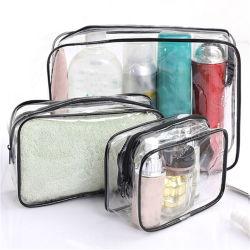 PVC/EVA kosmetischer Beutel, Großhandelsform-transparenter wasserdichter fördernder Verfassungs-Plastiktoilettenartikel-verpackenbeuteltote-Strand-Arbeitsweg-Einkaufen-Reißverschluss-Griff-Beutel