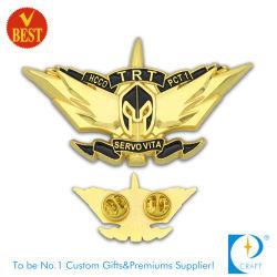 El logotipo de coche personalizado Esmalte Duro estaño metal Nombre de la seguridad militar de solapa Pin como alas de piloto de la placa de plata de plástico suave mobiliario insignia de latón para regalos promocionales