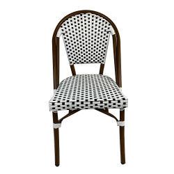 Le restaurant Dos haut de plein air Leaf Chaise en rotin pieds métalliques de meubles de jardin en aluminium