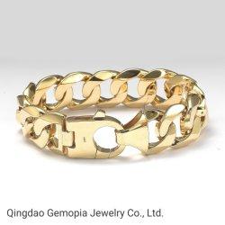 925 silberne festes Gold-/Monoca Miami kubanische Spitzen8.5 Zoll Form-Schmucksache-
