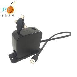 De aangepaste Spoel van de Kabel van de Lader USB van het Koord van 1-1.5 Gegevens van M Verlengbare Intrekbare