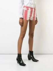 Mulheres Casual personalizado Striped curtos