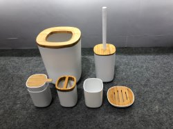 새로 좋아하는 Gedy White Plastic Bamboo Bath 액세서리 욕실 세트