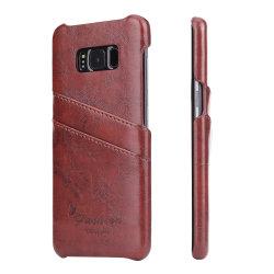 غلاف خلفي من جلد PU للهدايا من النوعية الفاخرة لـ Samsung S9 جراب من الجلد مع حامل بطاقة