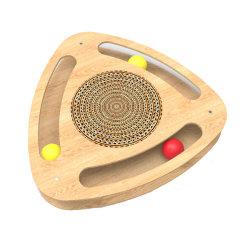 Katze, die Dreieck-Kasten MDF-hölzerne Katze-Spielzeug-Pappkatze Scratcher interaktives Spielzeug mit Kugel-Ring spielt