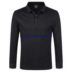 Camicia di polo lunga di golf di sport del lavoro dei manicotti di 260g 85% del cotone 15% della fibra del collare di seta unisex della nervatura