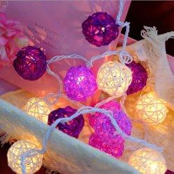 Светодиод Gold розового цвета Белый хлопок цветные шарики String фонари