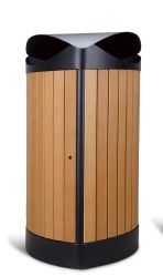 Открытый металл в мусорное ведро/bin/ мусора Waste Bin/корзину с пластмассовой древесины для питания (HW-534)