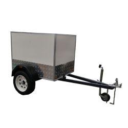 Vtt aluminium boîte de voiture de remorque hydraulique ferme de la cage remorque Remorque utilitaire feux galvanisé à chaud