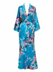 Bruids Robe van de Zijde van de Badjas van de Bloesems van de Pauw van de Kimono van de Pyjama's van vrouwen de Lange